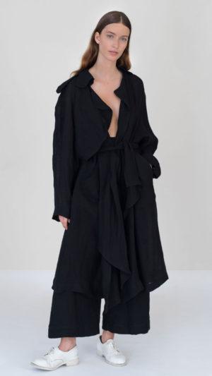 Trench en lin noir DA/DA Diane Ducasse