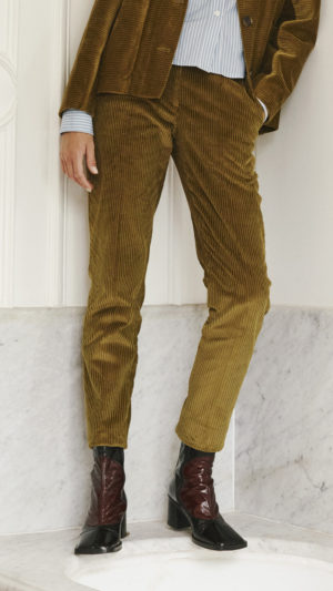 DADA-Diane-Ducasse-AH21-veste-travail-pantalon-slim-george-chemise-boyscout-velours-bronze-popeline-coton-rayure-2