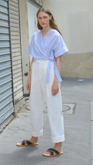 Kimono rayé bleu