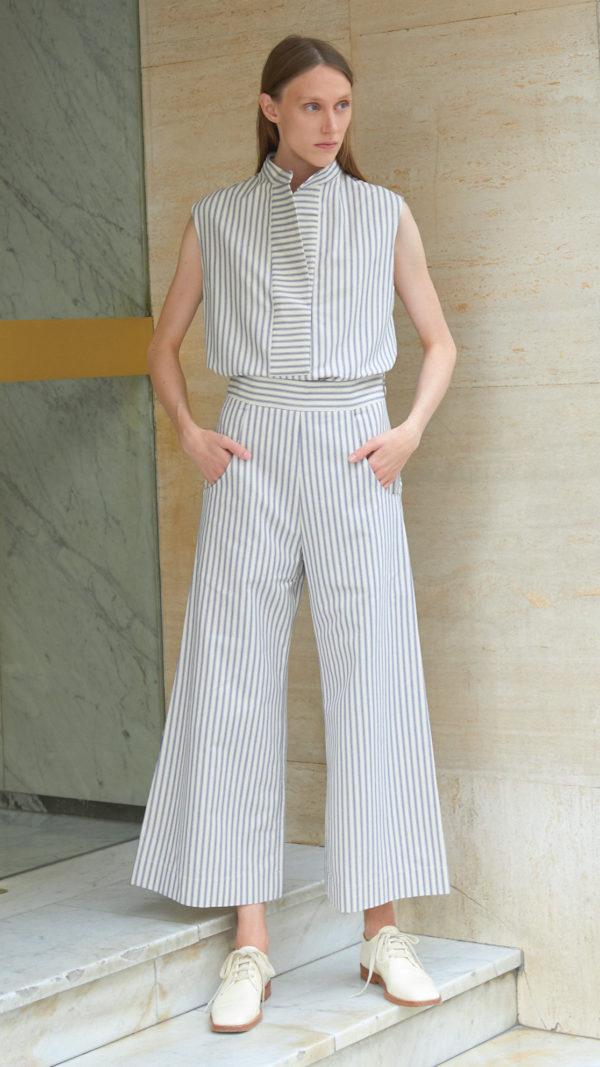 Pantalon coton rayé
