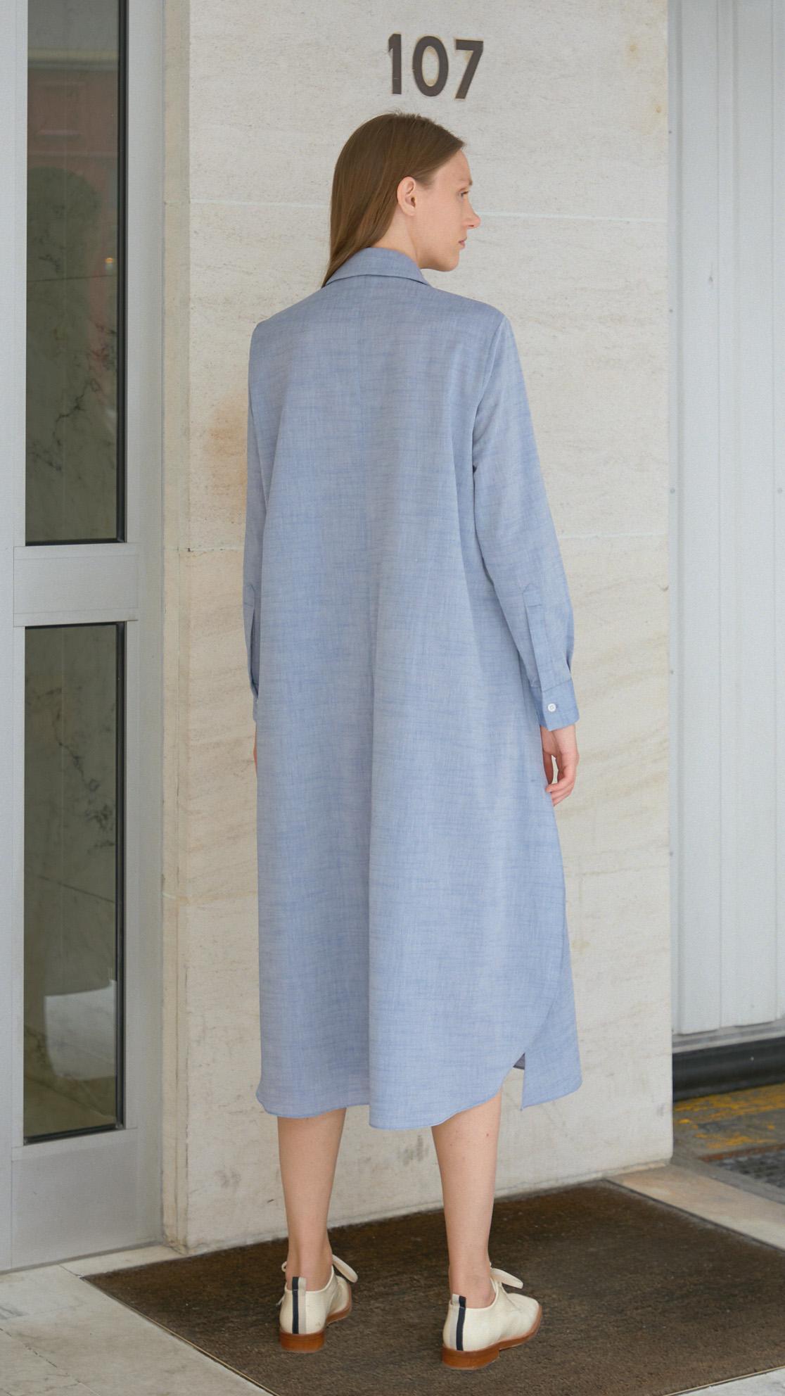 Robe chemise nouée coton bleu DA/DA Diane Ducasse
