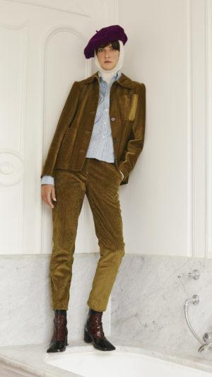 DADA-Diane-Ducasse-AH21-veste-travail-pantalon-slim-george-chemise-boyscout-velours-bronze-popeline-coton-rayure