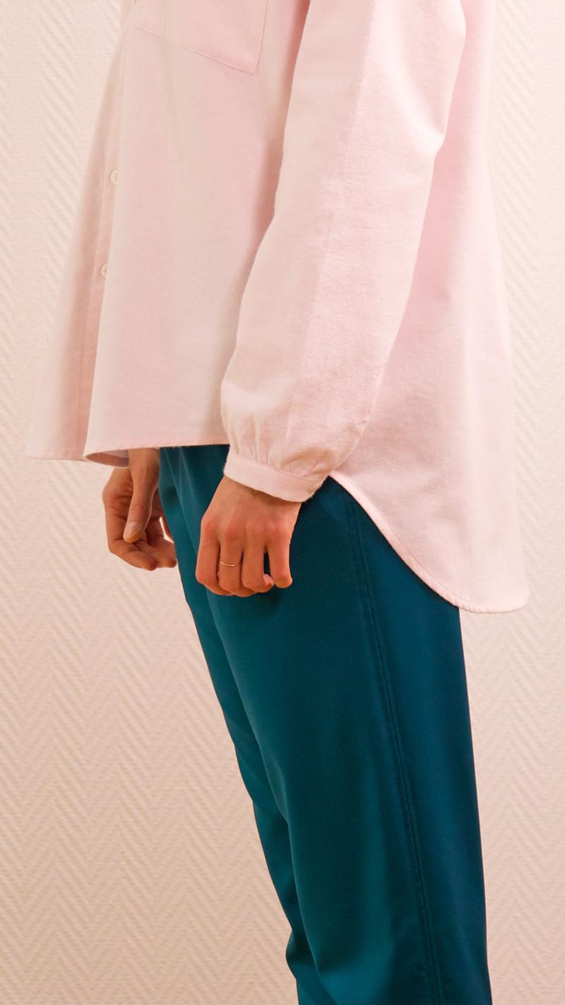 DADA-DIANE-DUCASSE-chemise-oversized-pilou-rose-pantalon-elastique-flanelle-canard-detail
