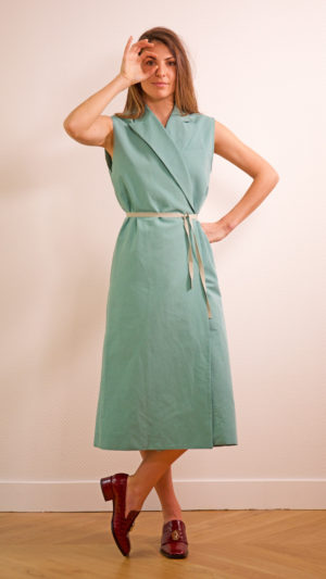 DADA-DIANE-DUCASSE-robe-tailleur-coton-lin-menthe-nouee-1