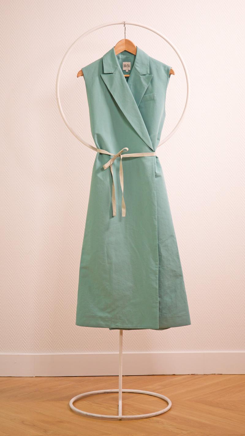 DADA-DIANE-DUCASSE-robe-tailleur-coton-lin-menthe-nouee-3