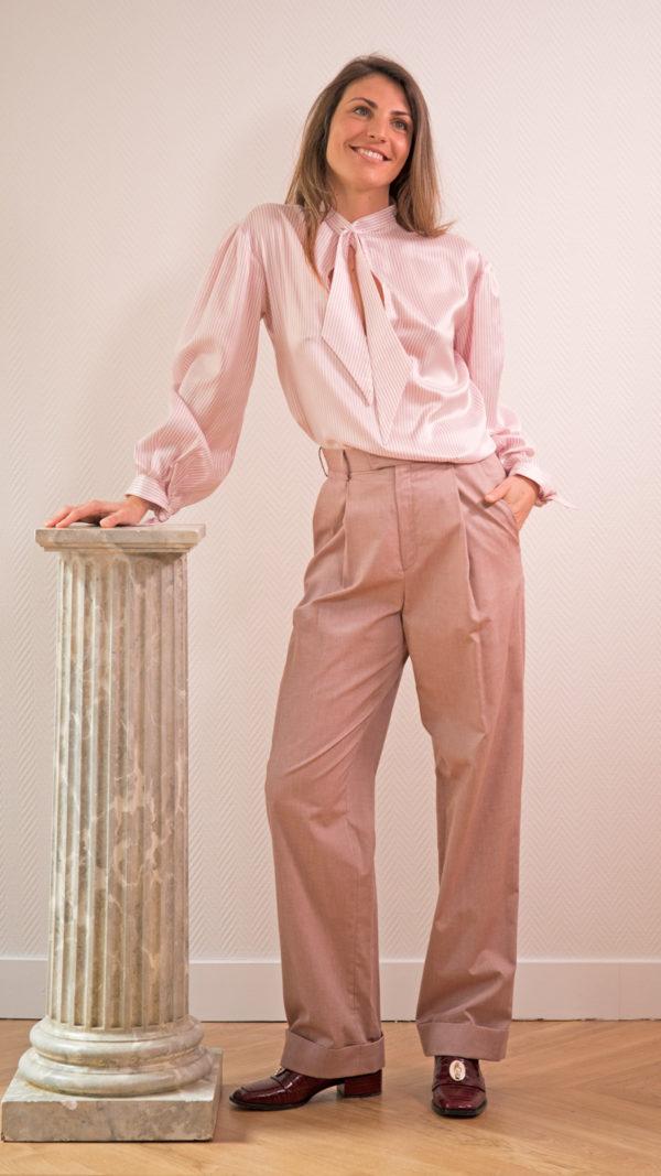 DADA-DIANE-DUCASSE-blouse-bandana-soie-raye-rose-pantalon-jules-coton-1