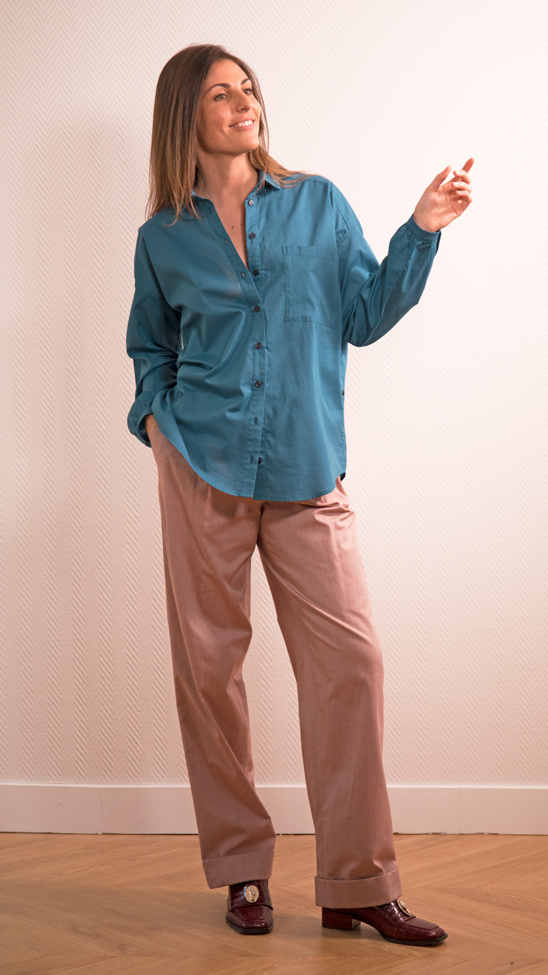 DADA-DIANE-DUCASSE-chemise-oversized-drape-coton-bleu-petrole-1