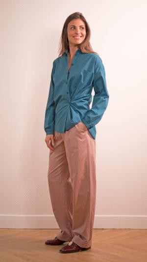 DADA-DIANE-DUCASSE-chemise-oversized-drape-coton-bleu-petrole-2