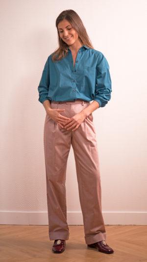 DADA-DIANE-DUCASSE-chemise-oversized-drape-coton-bleu-petrole-4