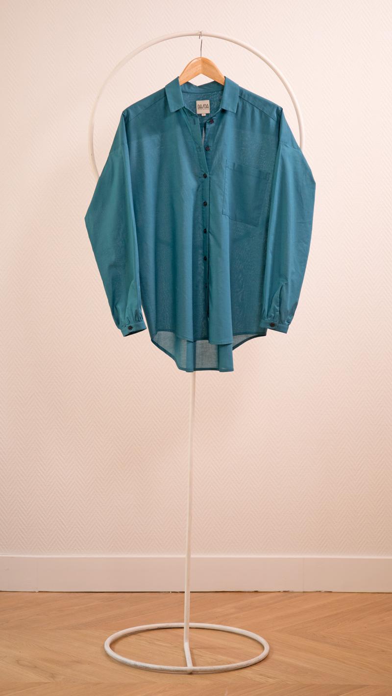 DADA-DIANE-DUCASSE-chemise-oversized-drape-coton-bleu-petrole-packshot