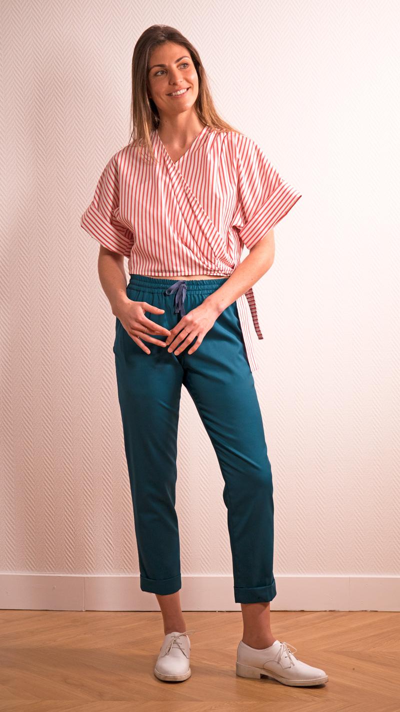 DADA-DIANE-DUCASSE-kimono-popeline-coton-rayure-orange-pantalon-slim-elastique-flanelle-bleu-petrole-2