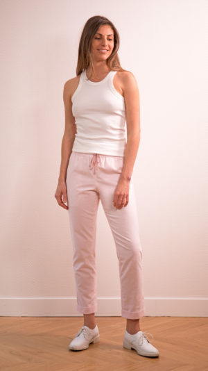 DADA-DIANE-DUCASSE-pantalon-elastique-pilou-coton-rose
