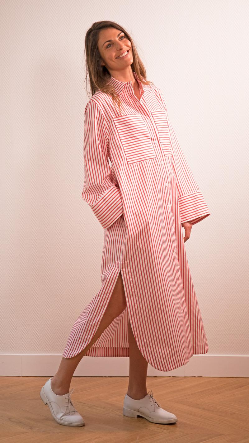 DADA-DIANE-DUCASSE-robe-chemise-oversized-coton-popeline-rayure-orange-1