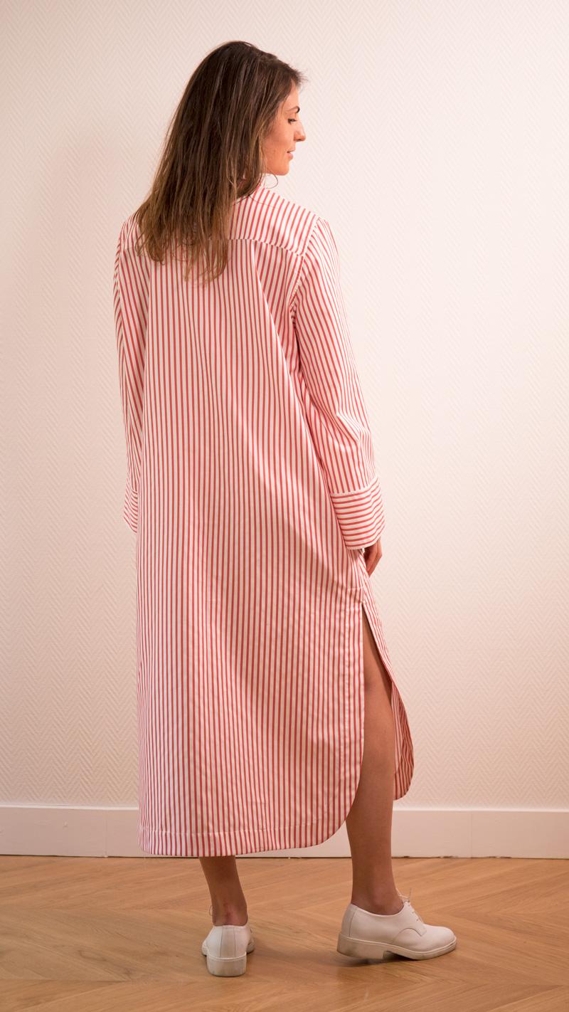 DADA-DIANE-DUCASSE-robe-chemise-oversized-coton-popeline-rayure-orange-2