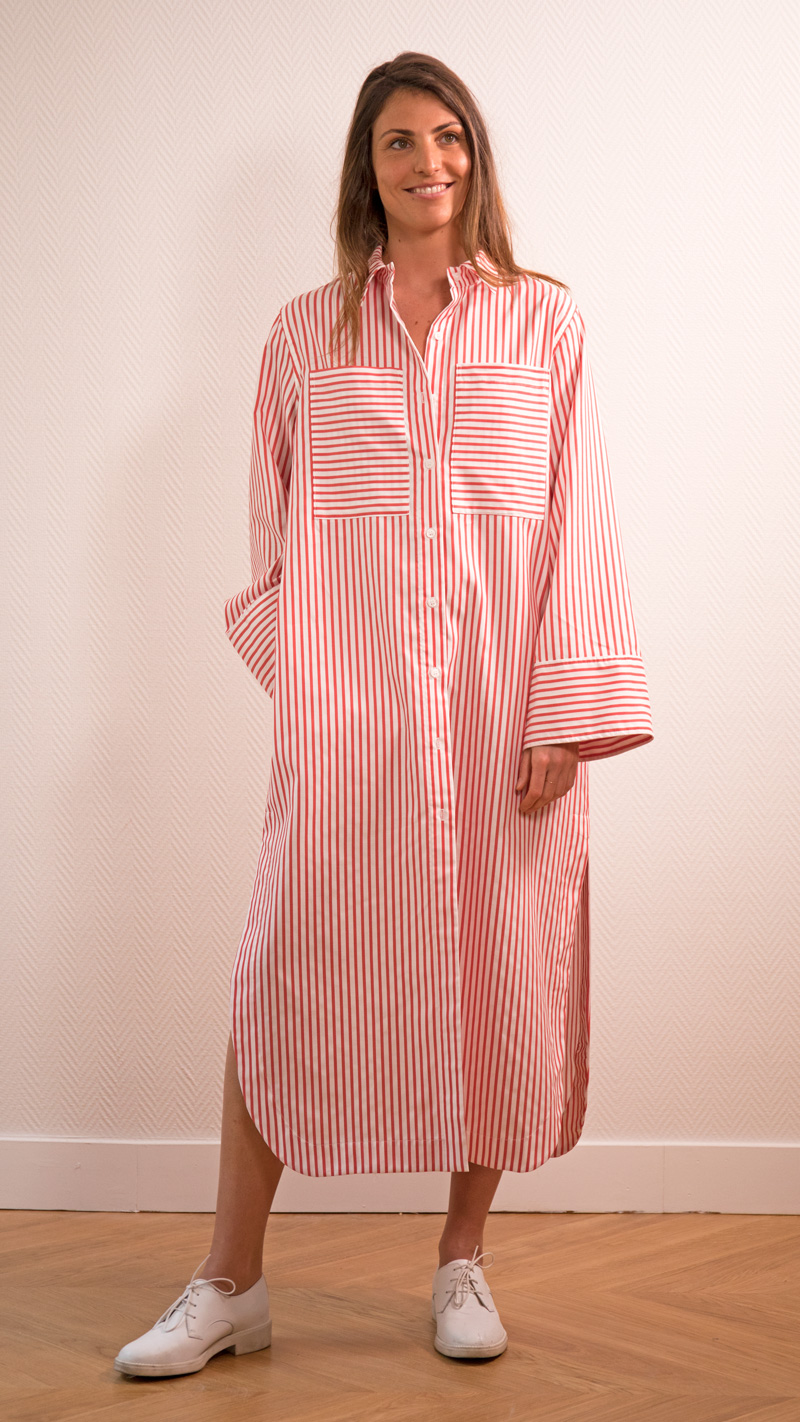 DADA-DIANE-DUCASSE-robe-chemise-oversized-coton-popeline-rayure-orange-4