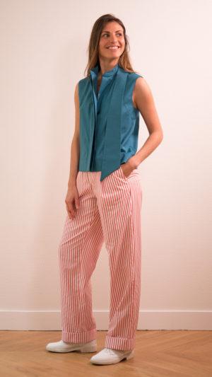 DADA-DIANE-DUCASSE-top-debardeur-bleu-canard-pantalon-droit-jules-coton-popeline-rayure-orange-1