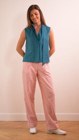 DADA-DIANE-DUCASSE-top-debardeur-bleu-canard-pantalon-droit-jules-coton-popeline-rayure-orange-2
