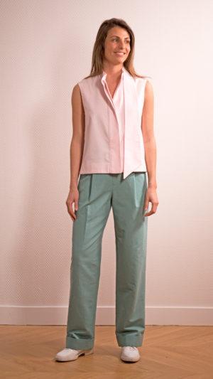 DADA-DIANE-DUCASSE-top-debardeur-pilou-coton-rose-pantalon-droit-jules-lin-menthe-1
