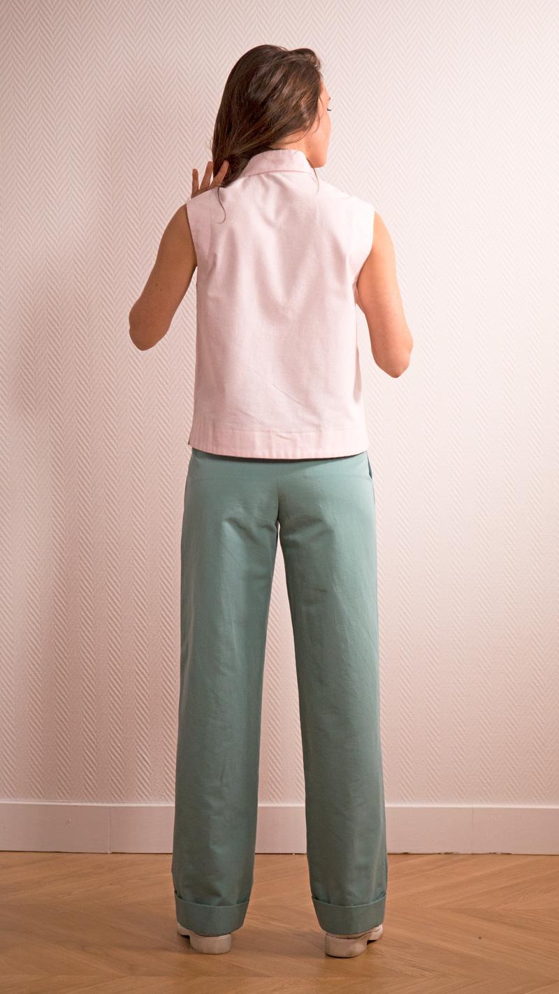 DADA-DIANE-DUCASSE-top-debardeur-pilou-coton-rose-pantalon-droit-jules-lin-menthe-dos