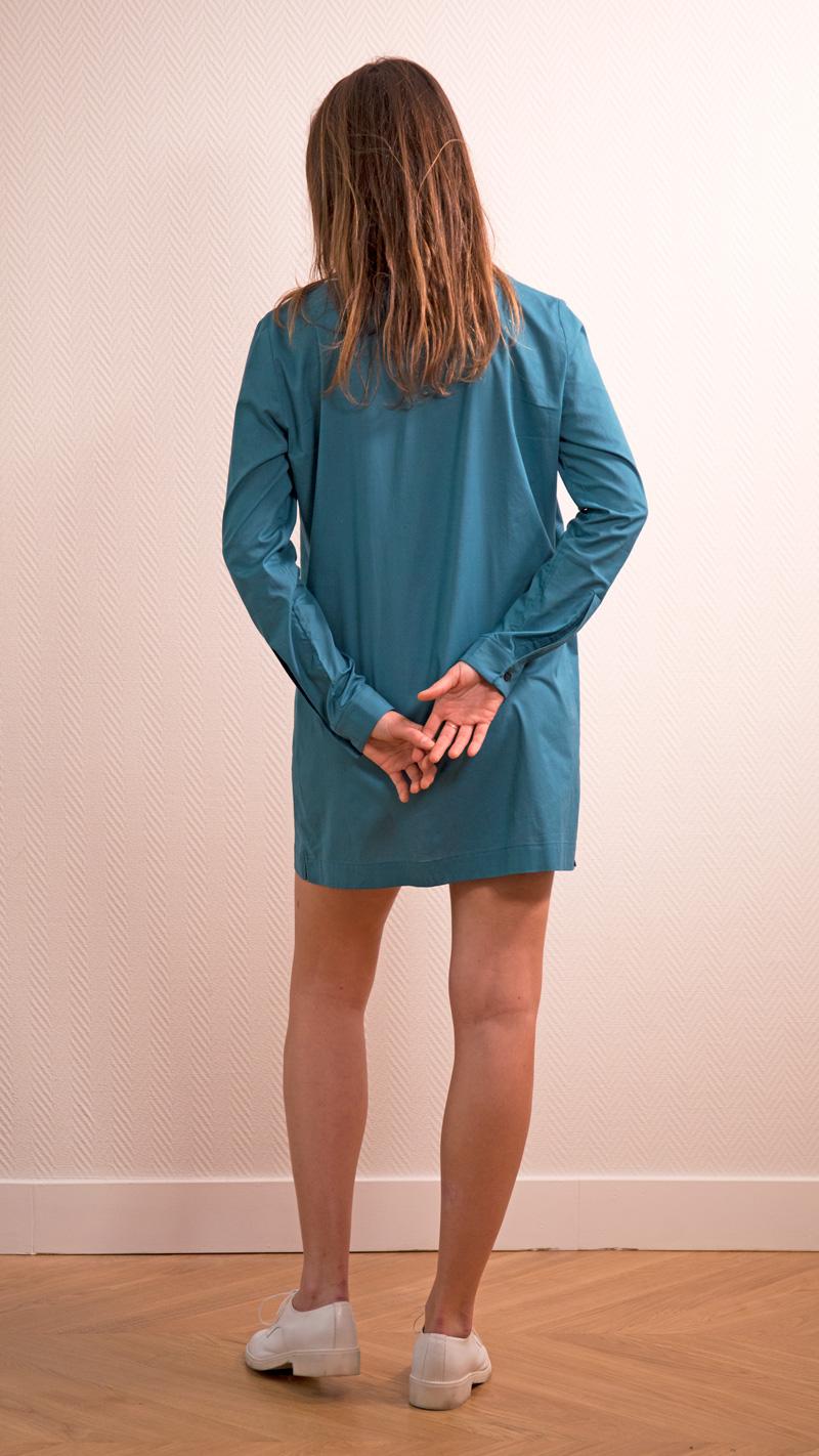 DADA-DIANE-DUCASSE-tunique-robe-coton-bleu-canard-dos
