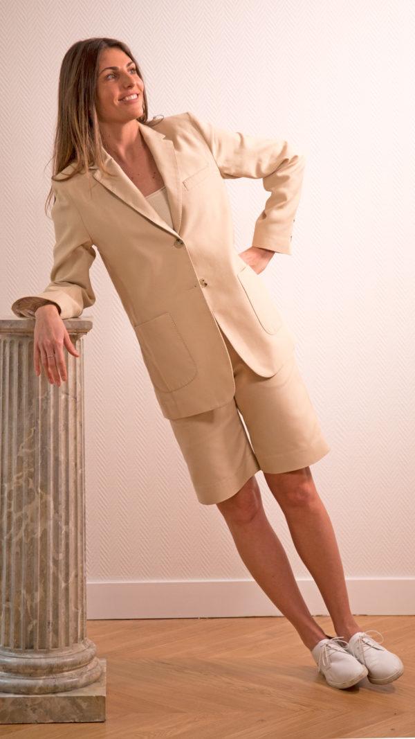 DADA-DIANE-DUCASSE-veste-tailleur-gala-bermuda-coton-soie-beige-1