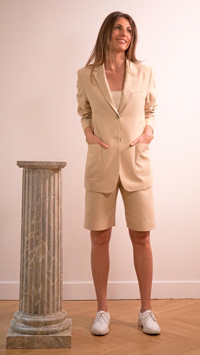 DADA-DIANE-DUCASSE-veste-tailleur-gala-bermuda-coton-soie-beige-2