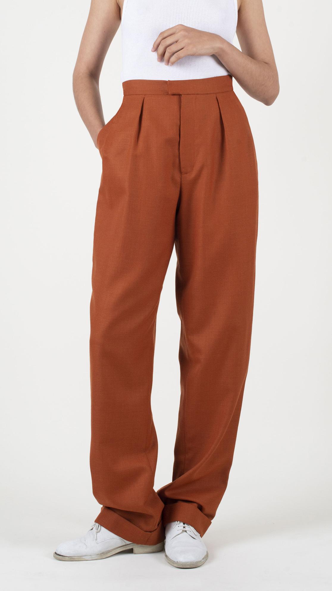DADA-Diane-Ducasse-AH21-pantalon-droit-jules-laine-orange-face